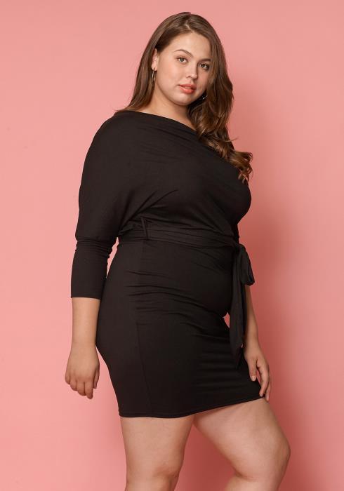 Asoph Women Clothing Plus Size One Shoulder Bodycon Dress