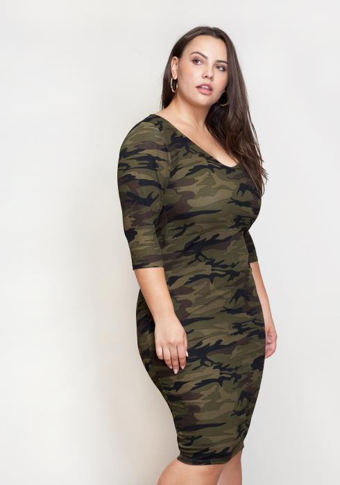 Asoph Plus Size Camo Bodycon Dress Women Clothing