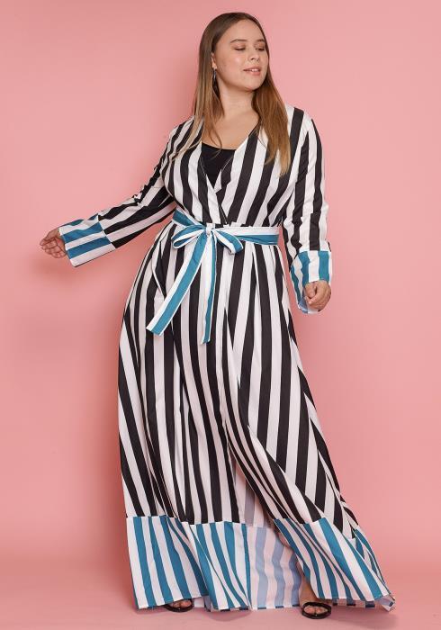 Asoph Plus Size Women Clothing Stripped Maxi Wrap Dress