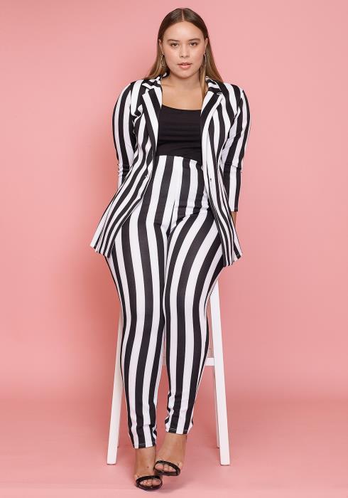 Asoph Plus Size Striped High Waist Pants Women Clothing