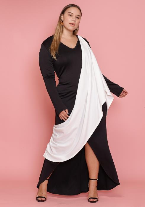 Asoph Plus Size Black&White Women Clothing Maxi Dress