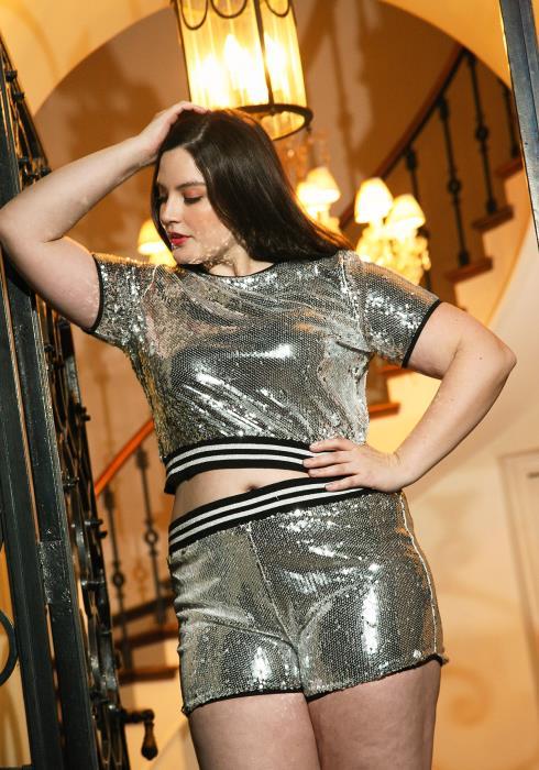 Asoph Plus Size Sequin Crop Top Women Clothing