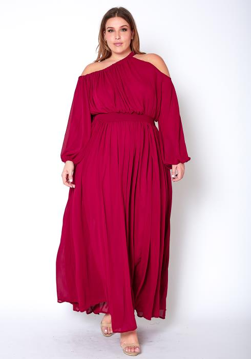 Asoph Plus Size Womens Asymmetric Shoulder Chiffon Maxi Dress