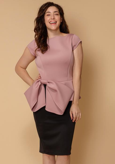 Asoph Plus Size Bow Front Peplum Women Clothing Top