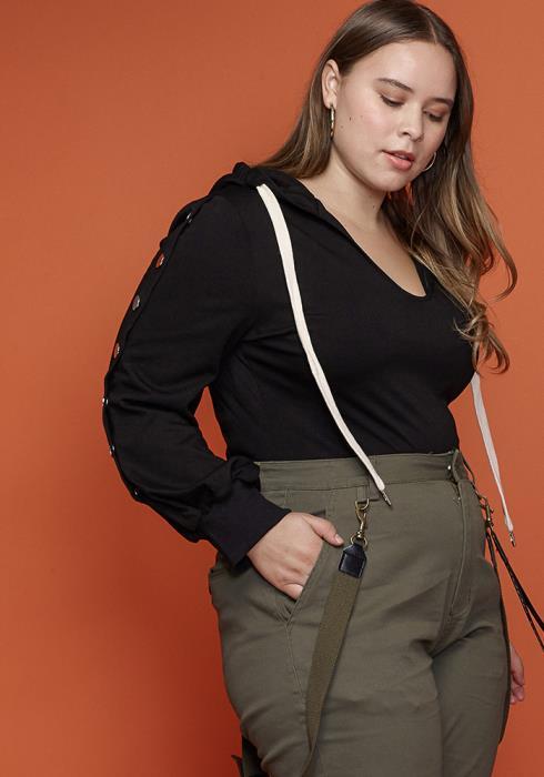 Asoph Plus Size Women Clothing Hooded Bodysuit