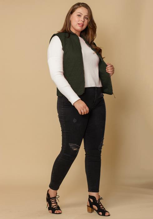Asoph Women Clothing Plus Size Zip Up Vest
