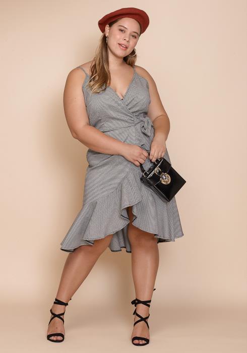 Asoph Plus Size Ruffle Wrap Women Clothing Dress