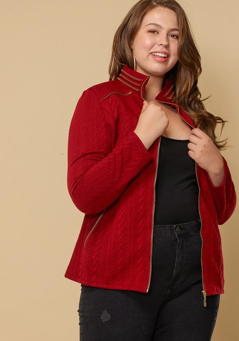 Asoph Plus Size Textured Zip Up Women