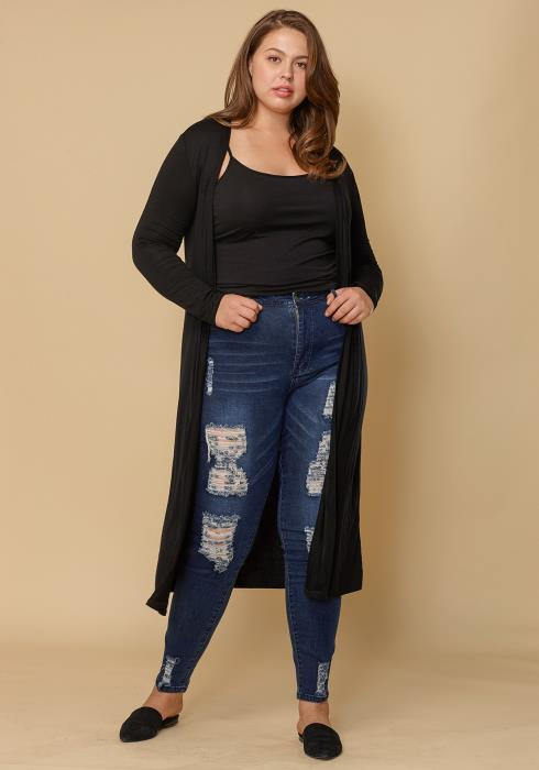 Asoph Plus Size Ripped Skinny Jean Women Clothing