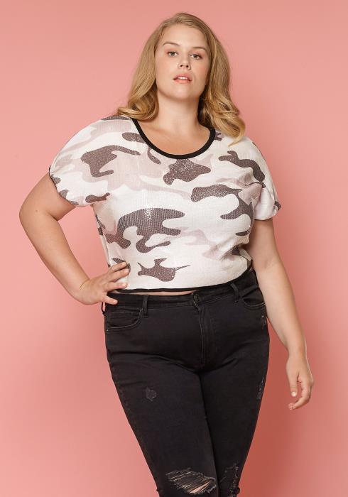 Asoph Camo Cropped Plus Size Women