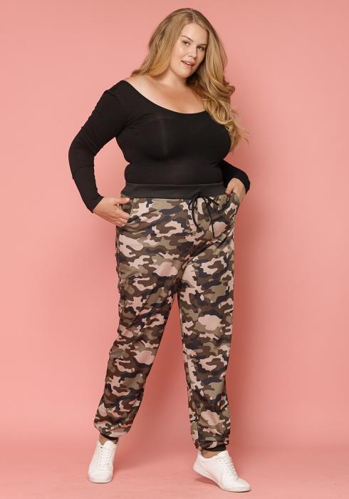 Asoph Plus Size Camo Pants Women Clothing
