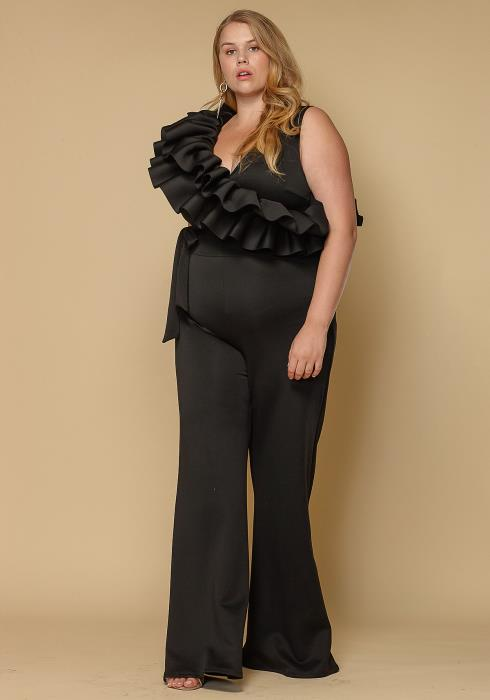Asoph Plus Size Women Clothing Ruffle Shoulder Jumpsuit