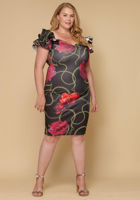 Asoph Plus Size Ruffle Shoulder Floral Bodycon Women
