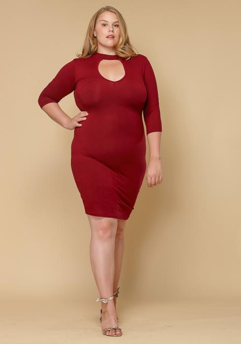 Asoph Plus Size Keyhole Choker Bodycon Dress Women Clothing