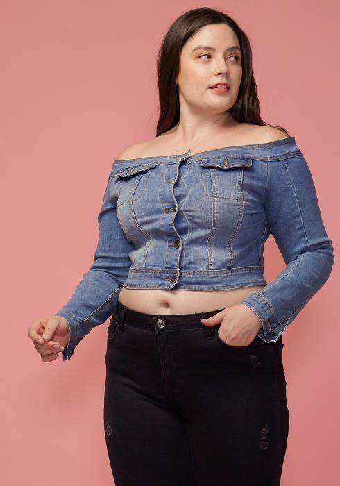 Asoph Women Clothing Plus Size Off Shoulder Cropped Denim Top