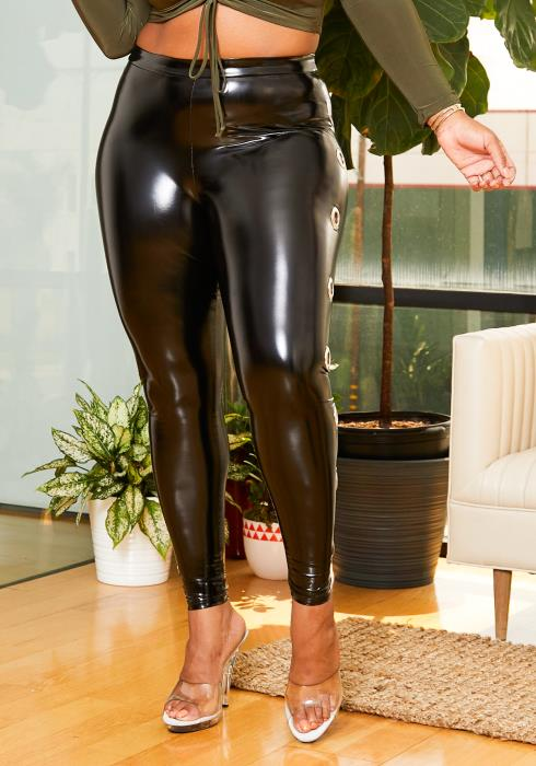 Asoph O-Ring Latex Plus Size Leggings Women Clothing