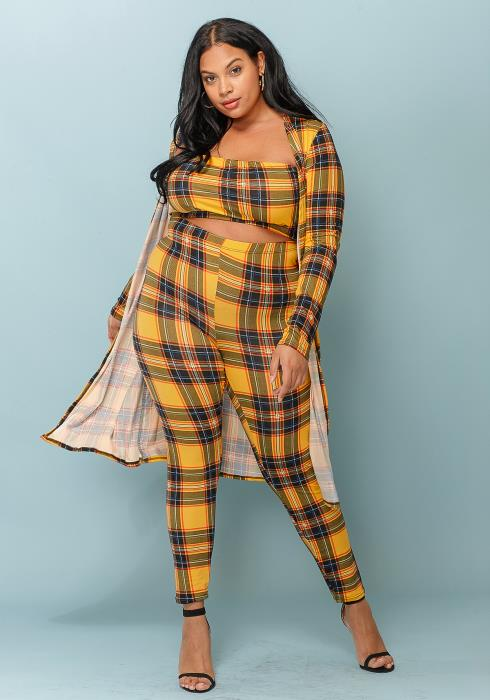 Asoph Plus Size Plaid Set Women Clothing