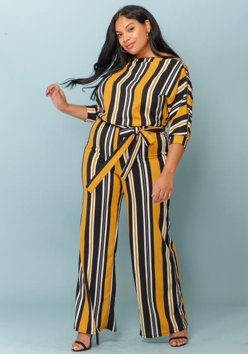 Asoph Multi-Stripe Plus Size Women Jumpsuit
