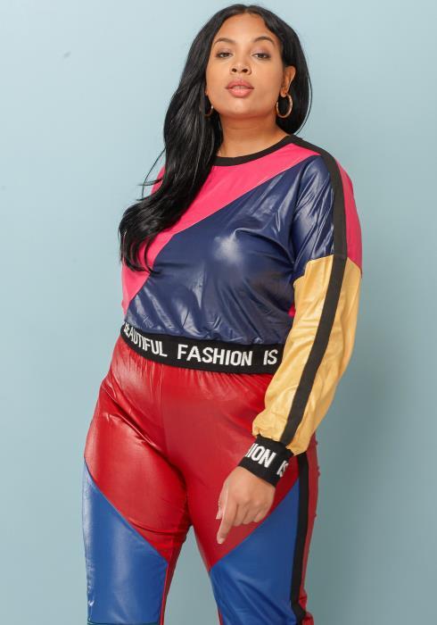 Asoph Plus Size Color Block Crop Top Women Clothing