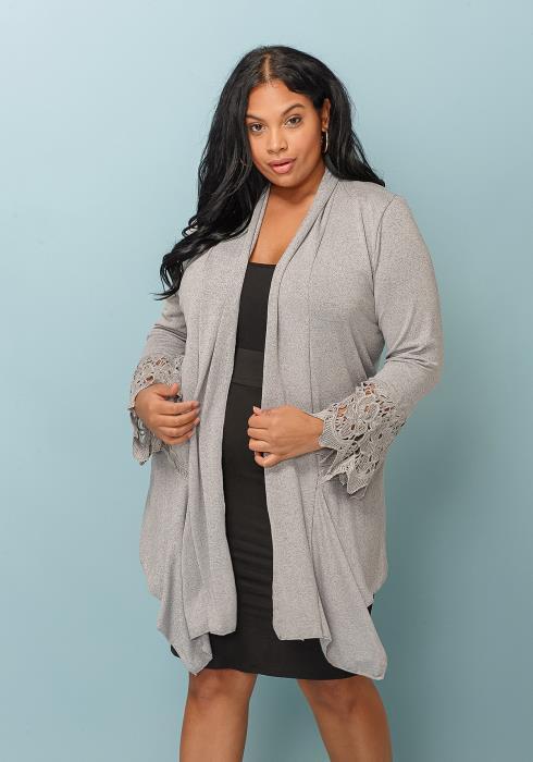 Asoph Drape Collar Plus Size Cardigan Women Clothing