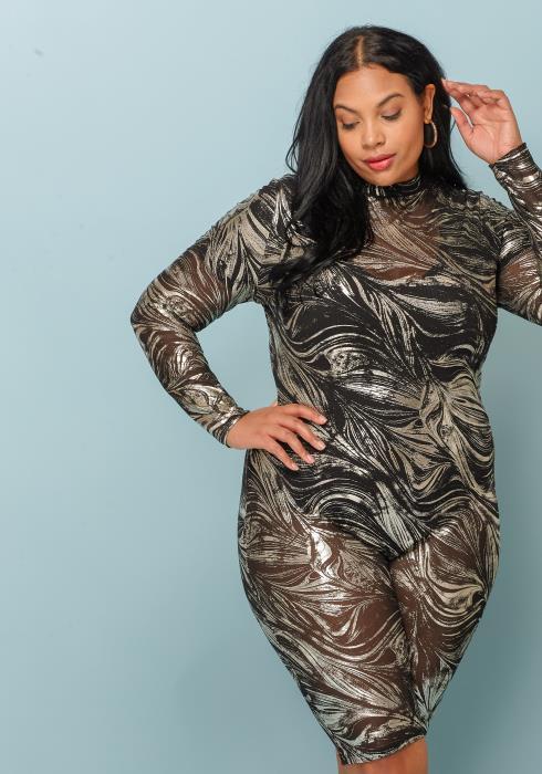 Asoph Plus Size Silver Metallic Romper Women Clothing