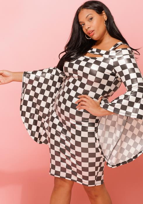 Asoph Black White Checkered Plus Size Dress Women Clothing