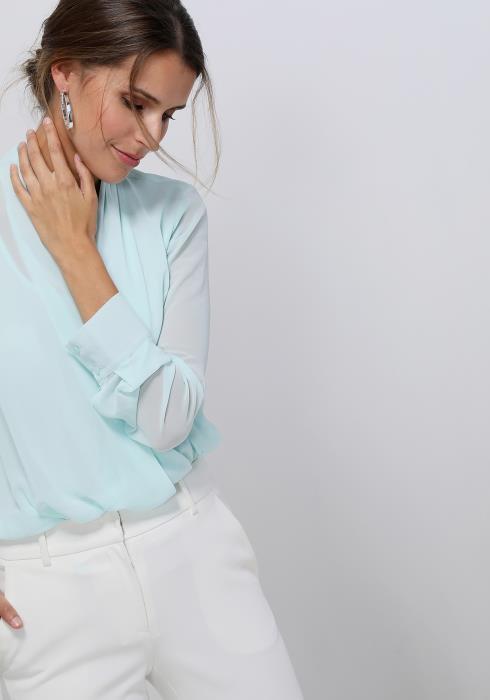 Ro&De Noir Drape Collar Wrap Blouse Women Clothing