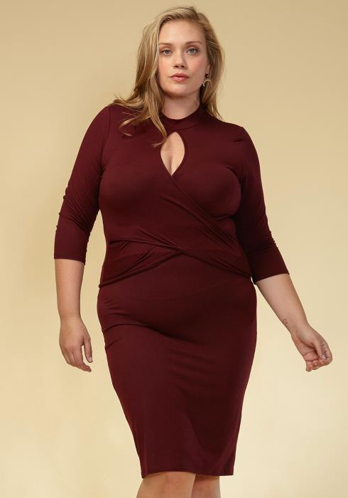 Asoph Plus Size Keyhole Crop Top & Skirt Set