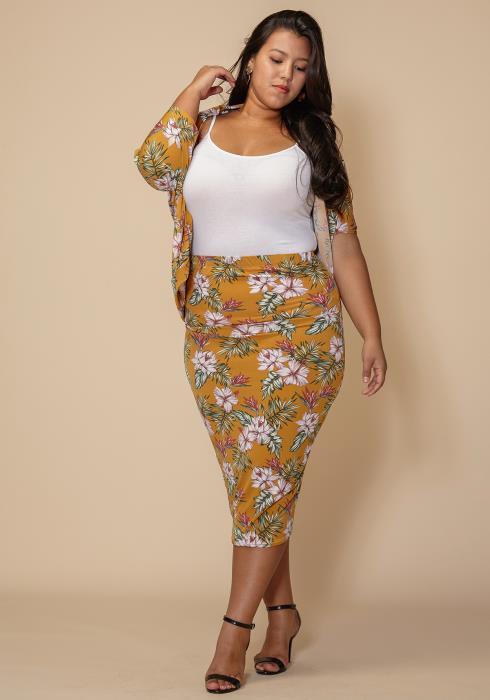 Asoph Floral Pencil Midi Skirt Plus Size Clothing