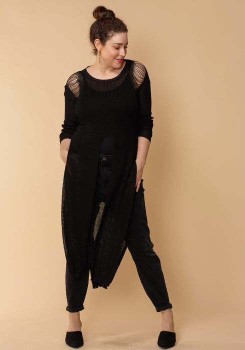 Asoph Slit Hem Knit Plus Size Top