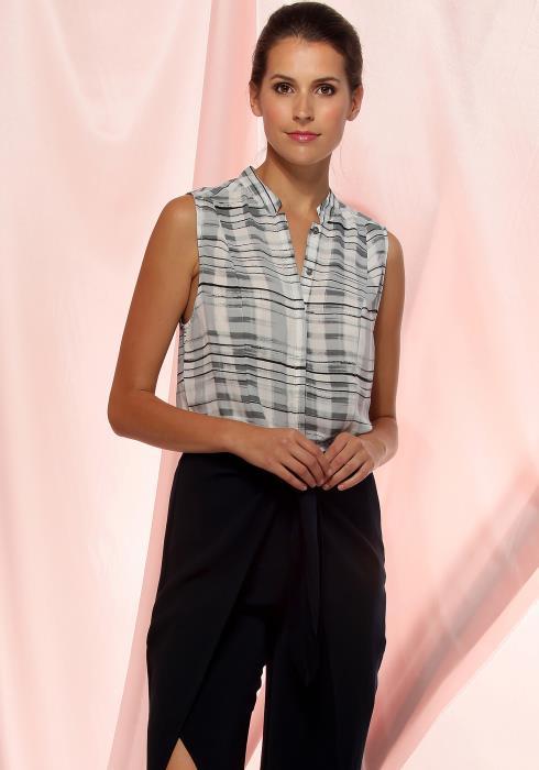 Ro&De Noir Printed Sleeveless Shirt Women Clothing