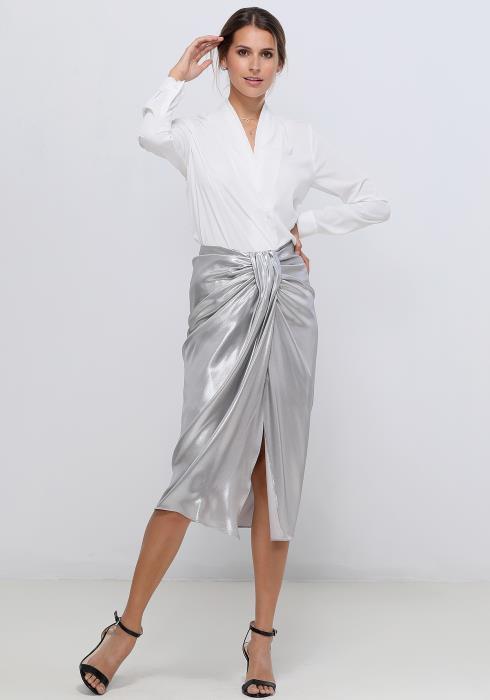 Ro&De Noir Pleated Neck Blouse Women Clothing