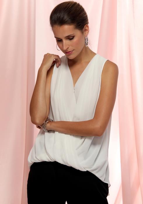 Ro&De Noir Sleeveless Wrap Blouse Women Clothing