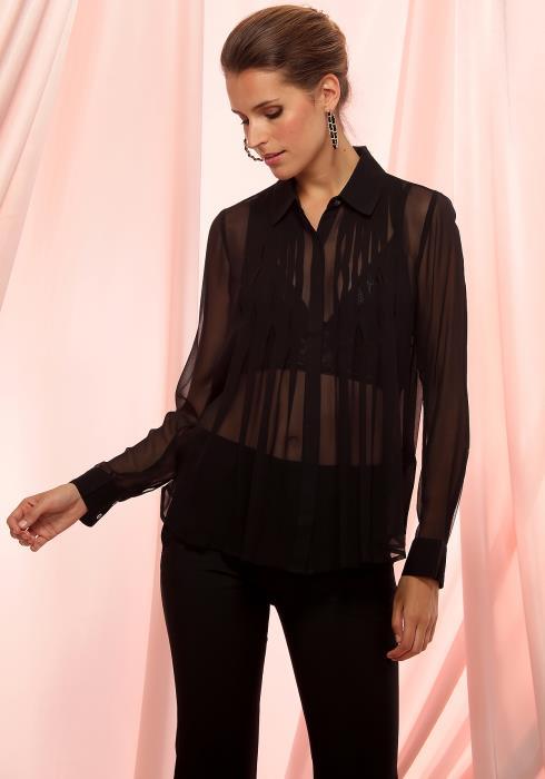 Ro&De Noir Sheer Pleated Silk Blouse Women Clothing