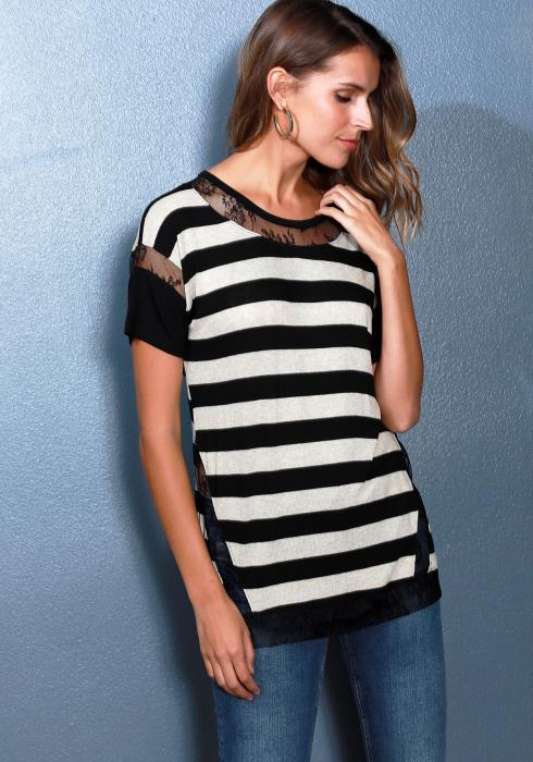 Ro&De Noir Lace Trim Stripe Tee Women Clothing