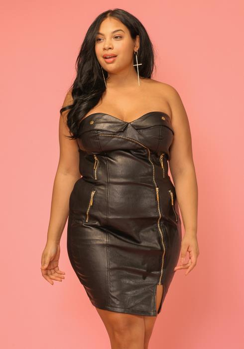 Asoph Plus Size Faux Leather Tube Top Dress Women Clothing