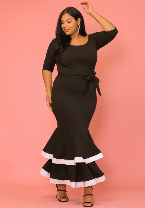 Asoph Plus Size Ruffle Maxi Dress