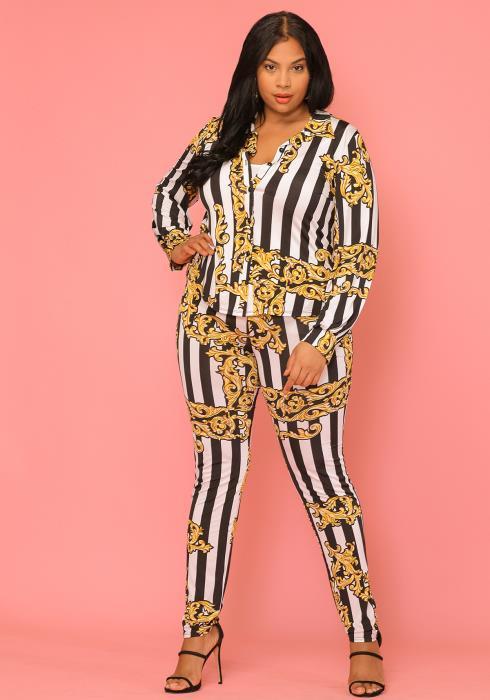 Asoph Plus Size Women Clothing Striped Leggings & Shirt Set