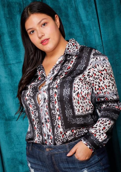 Asoph Plus Size Silky Button Up Shirt Women Clothing