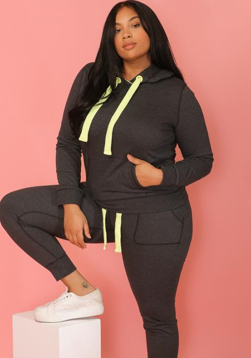 Asoph Women Clothing Plus Size Neon Strap Hoodie