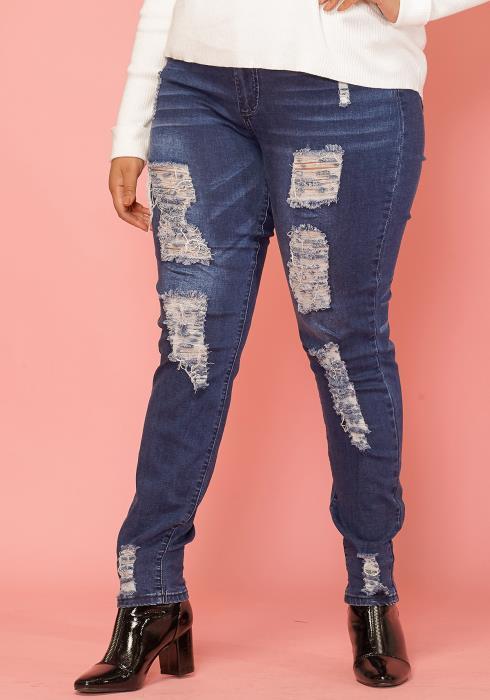 Asoph Plus Size Ripped Skinny Jean Women Clothing