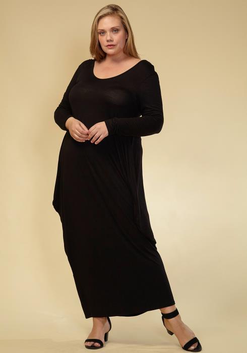 Asoph Plus Size Long Sleeve T-shirt Maxi Dress