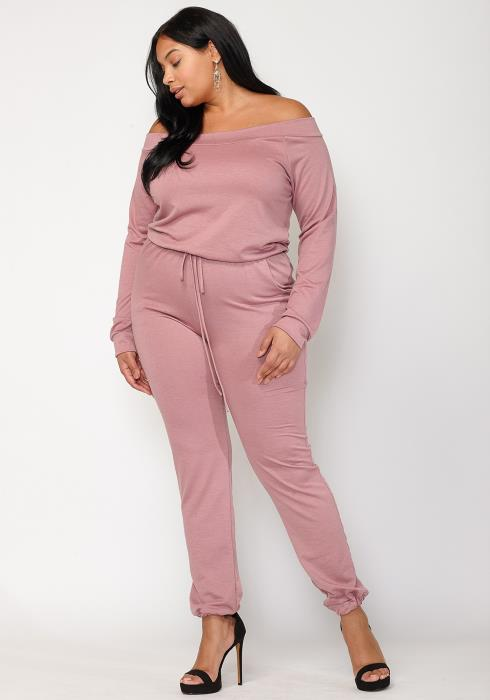 Asoph Plus Size Women Clothing Off Shoulder Jumpsuit