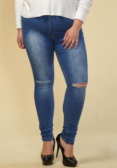 Asoph Plus Size Women Clothing Blue Skinny Denim