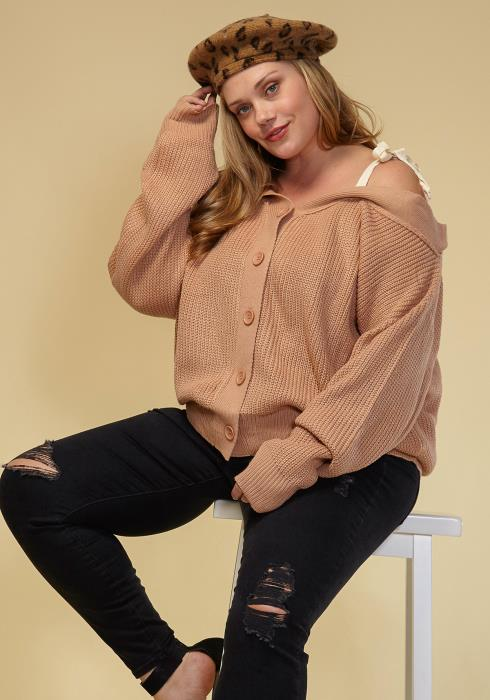 Asoph Plus Size Off Shoulder Button Up Cardigan Women Clothing