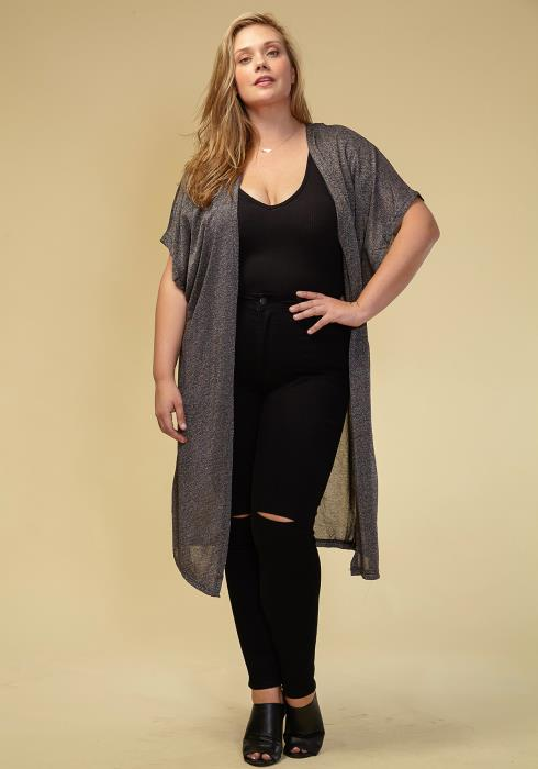 Asoph Plus Size Light Weight Short Sleeve Long Cardigan Women Clothing