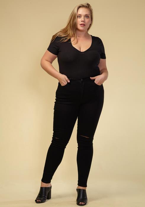 Asoph Plus Size Black Denim Knee Slit Jeans Women Clothing