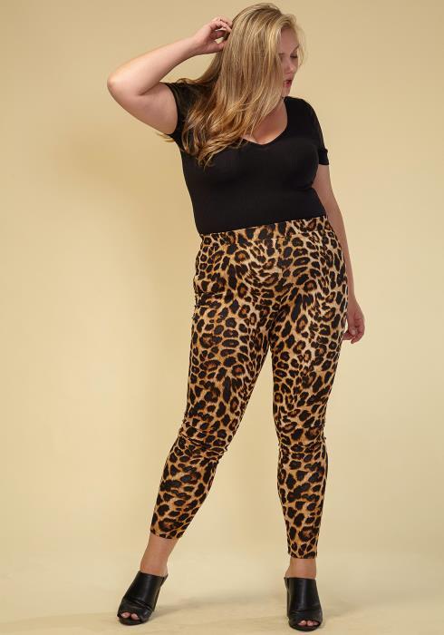 Asoph Plus Size Women Clothing Leopard Capri Joggers