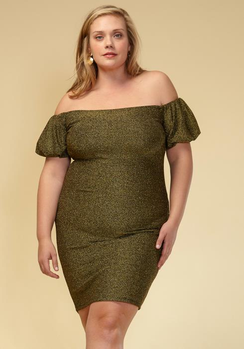 Asoph Plus Size Off Shoulder Puff Sleeve Dress Women Clothing
