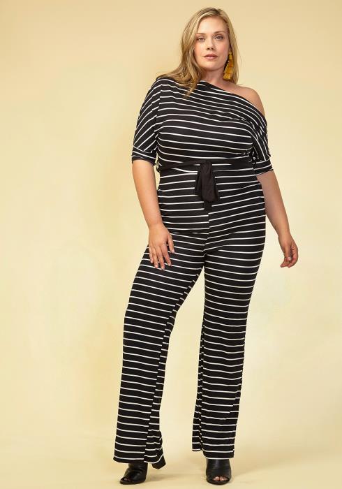 Asoph Women Clothing Plus Size Striped Off Shoulder Jumpsuit
